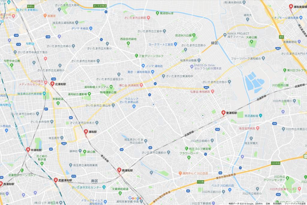 浦和にある各駅の位置関係