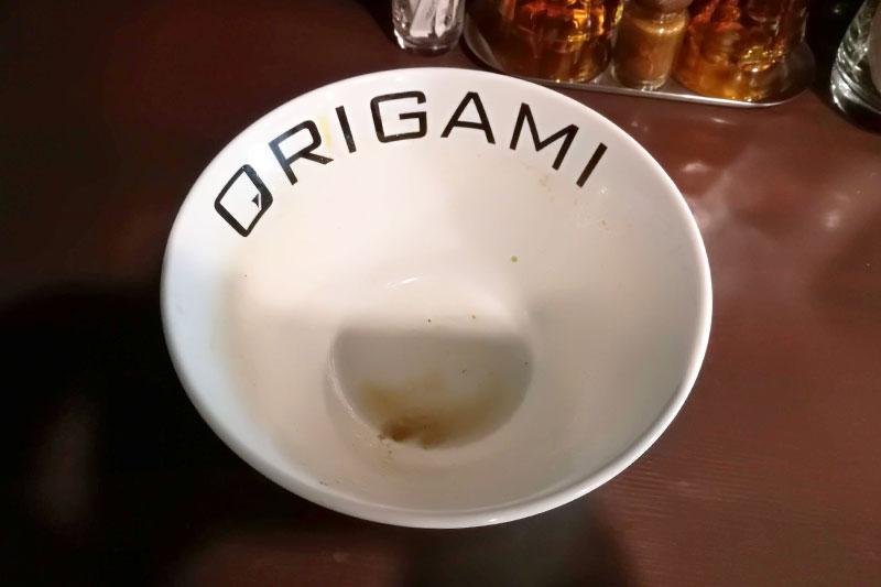 麺屋ORIGAMI ラーメン完食