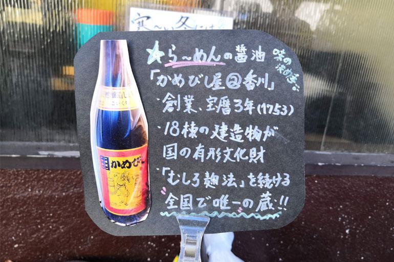 仮麺中で使用している醤油