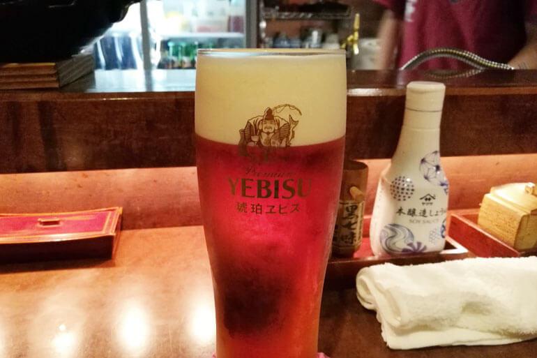 浦和漁港 すみぼうず サッポロ琥珀エビス生ビール