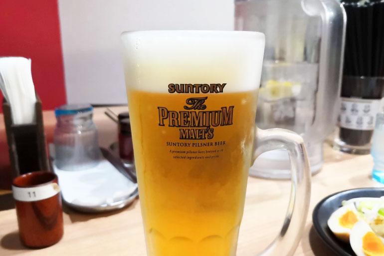 北浦和 横浜家系ラーメン真面目 生ビール