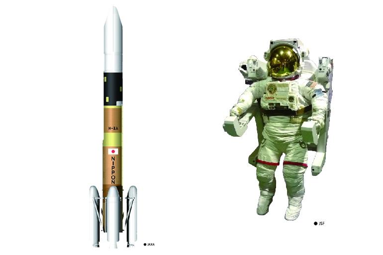 普段見ることのできないJAXAの「縮尺1/20のH-ⅡAロケット」「実寸大の船外宇宙服」などを展示
