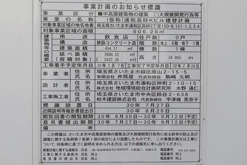 コナカ 浦和本店跡地「浦和高砂Kビル(仮称)」テナント一覧